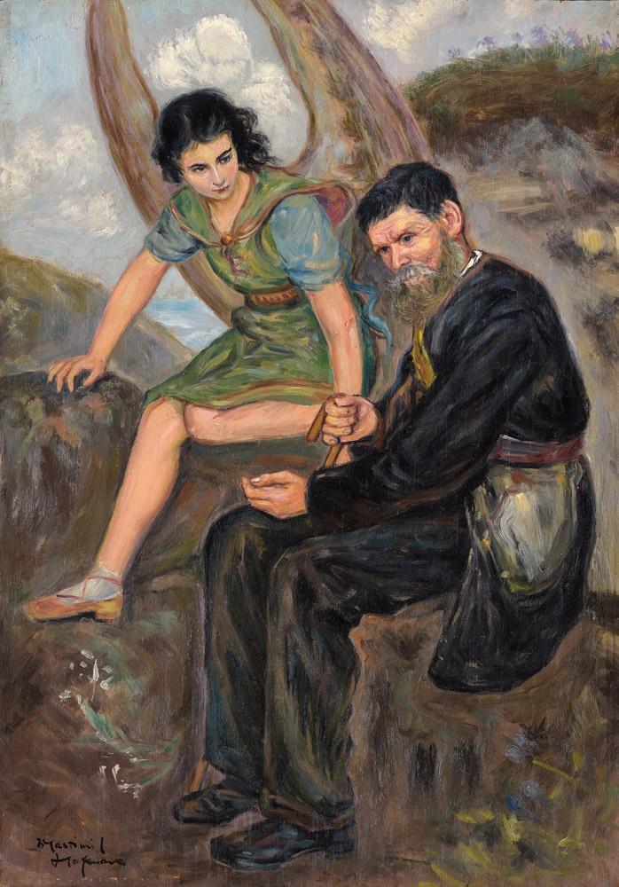 "Wlastimil Hofman (1881-1970) ""Anioł i starzec"", źródło: Düsseldorfer Auktionshaus"