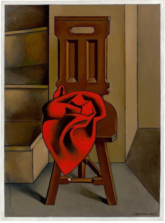 """Henryk Berlewi (1894-1967) """"Krzesło z czerwoną draperią"""", źródło: Grisebach GmbH"""