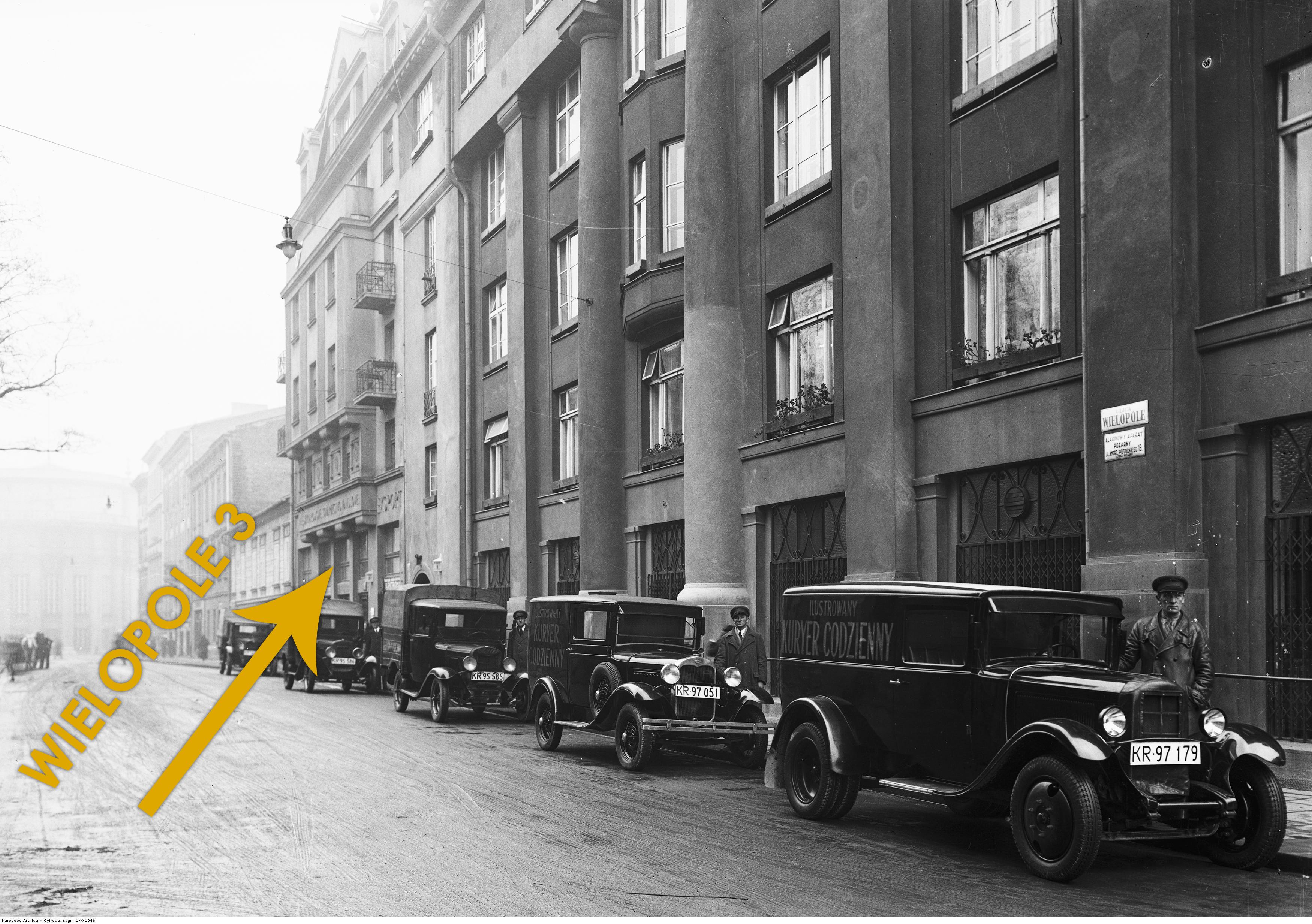 Gmach Pałacu Prasy przy ul. Wielopole w Krakowie w 1935 roku, źródło: nac.gov.pl