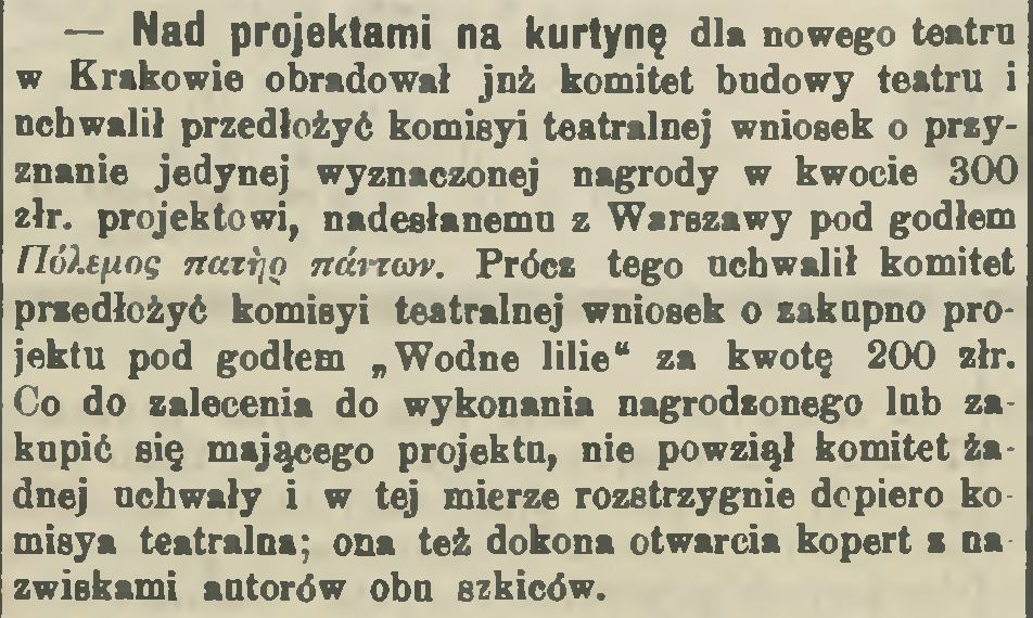 """źródło: """"Czas"""" 1892, nr 87 (15 IV)"""