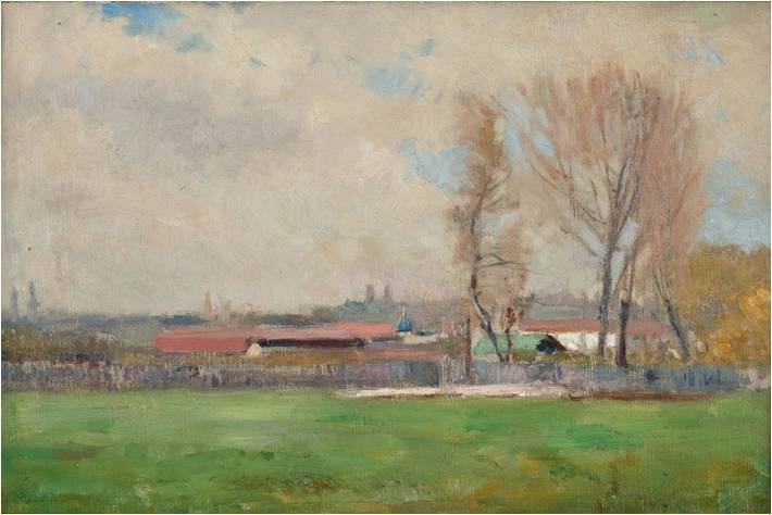 """Jan Stanisławski (1860-1907) """"Pejzaż"""", niesygnowany, SPRZEDAŻ: 55 000 zł, źródło: Polswiss Art"""