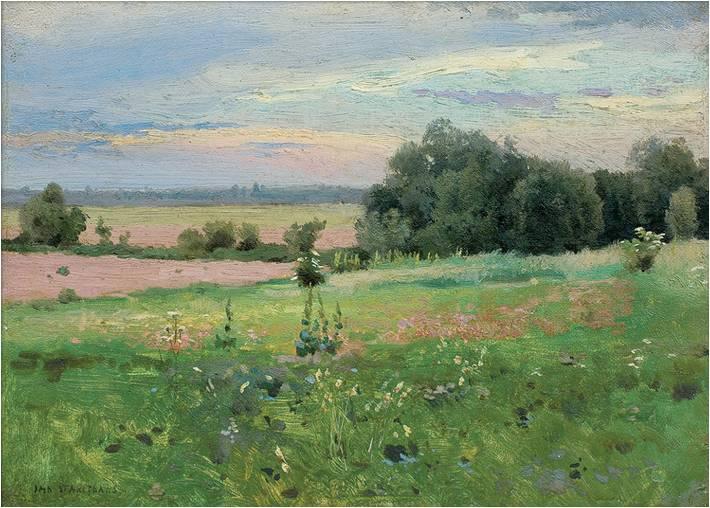 """Jan Stanisławski (1860-1907) """"Łąka"""", sygnowany l.d., SPRZEDAŻ: 130 000 zł, źródło: AgraArt"""