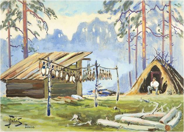 """Julian Fałat (1853-1929) """"Po polowaniu na kaczki"""", akwarela na papierze, SPRZEDAŻ: 24 000 zł, źródło: DESA Unicum"""