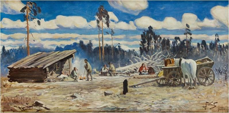 """Julian Fałat (1853-1929) """"Odpoczynek po polowaniu w Nieświeżu"""", olej na płótnie, SPRZEDAŻ: 190 000 zł, źródło: DESA Unicum"""