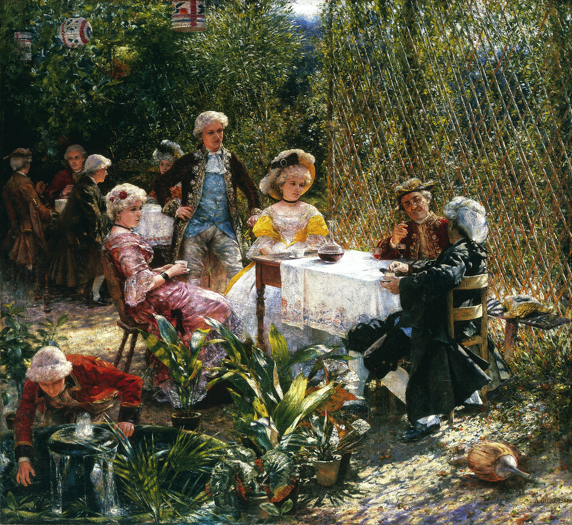 """Aleksander Gierymski """"W altanie"""", 1882 rok, źródło: Muzeum Narodowe w Warszawie"""