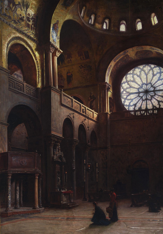 """Aleksander Gierymski """"Wnętrze bazyliki św.Marka w Wenecji"""", 1899 rok, źródło: Muzeum Narodowe w Warszawie"""