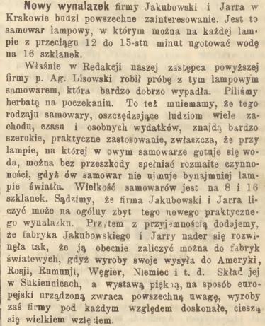 """Nowy wynalazek, źródło: """"Głos Narodu"""" 1899, nr 194 (28 VIII)"""