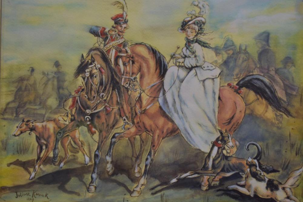 """Juliusz Kossak (1824-1899) """"Wyjazd na polowanie"""", źródło: JD's Auctions"""