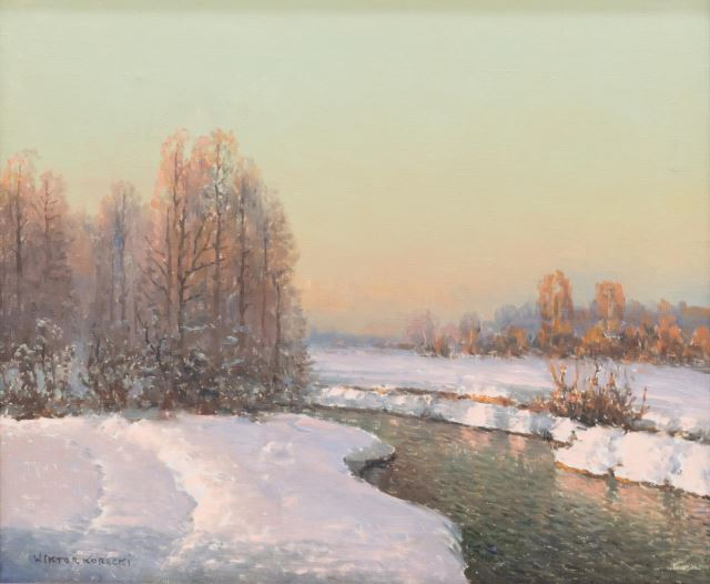 """Wiktor Korecki (1890-1980) """"Zimowy pejzaż z potokiem"""", źródło: Austin Auction"""