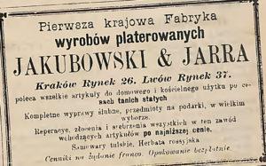Jakubowski & Jarra - Pierwsza Krajowa Fabryka Wyrobów Platerowych, Srebrnych i Metalowych