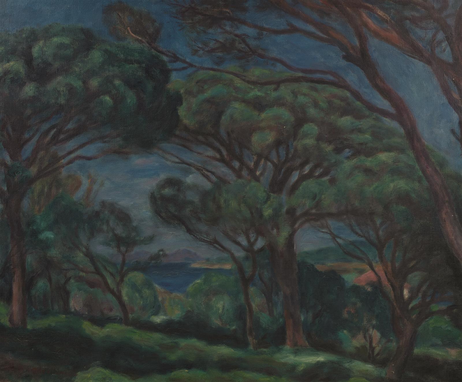 """Józef Pankiewicz (1866-1940) """"Pinie w Saint Tropez"""", źródło: Eve Enchères"""