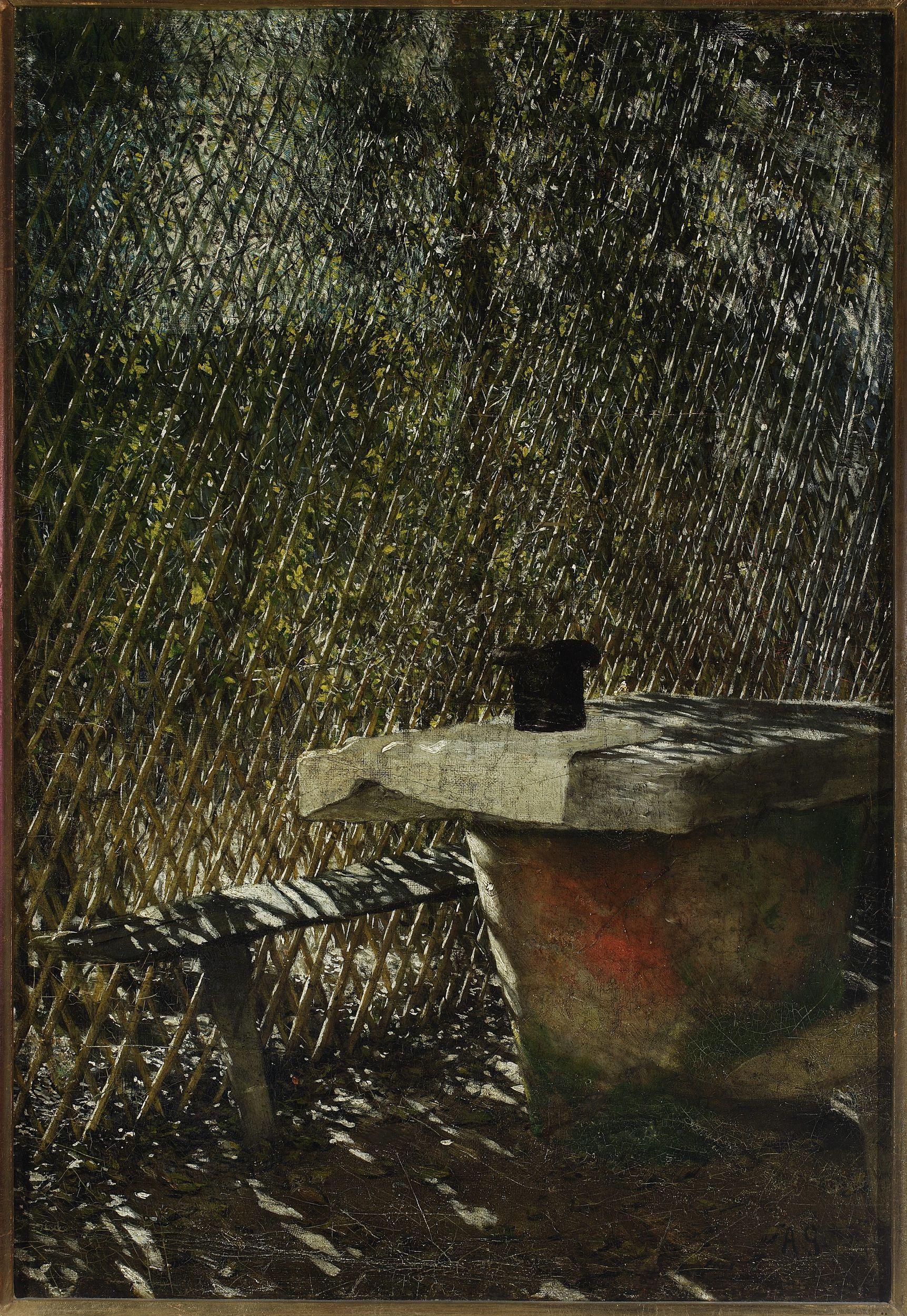 """Aleksander Gierymski """"Studium do obrazu """"W altanie"""" (z cylindrem)"""", 1875 rok, źródło: Muzeum Narodowe w Warszawie"""