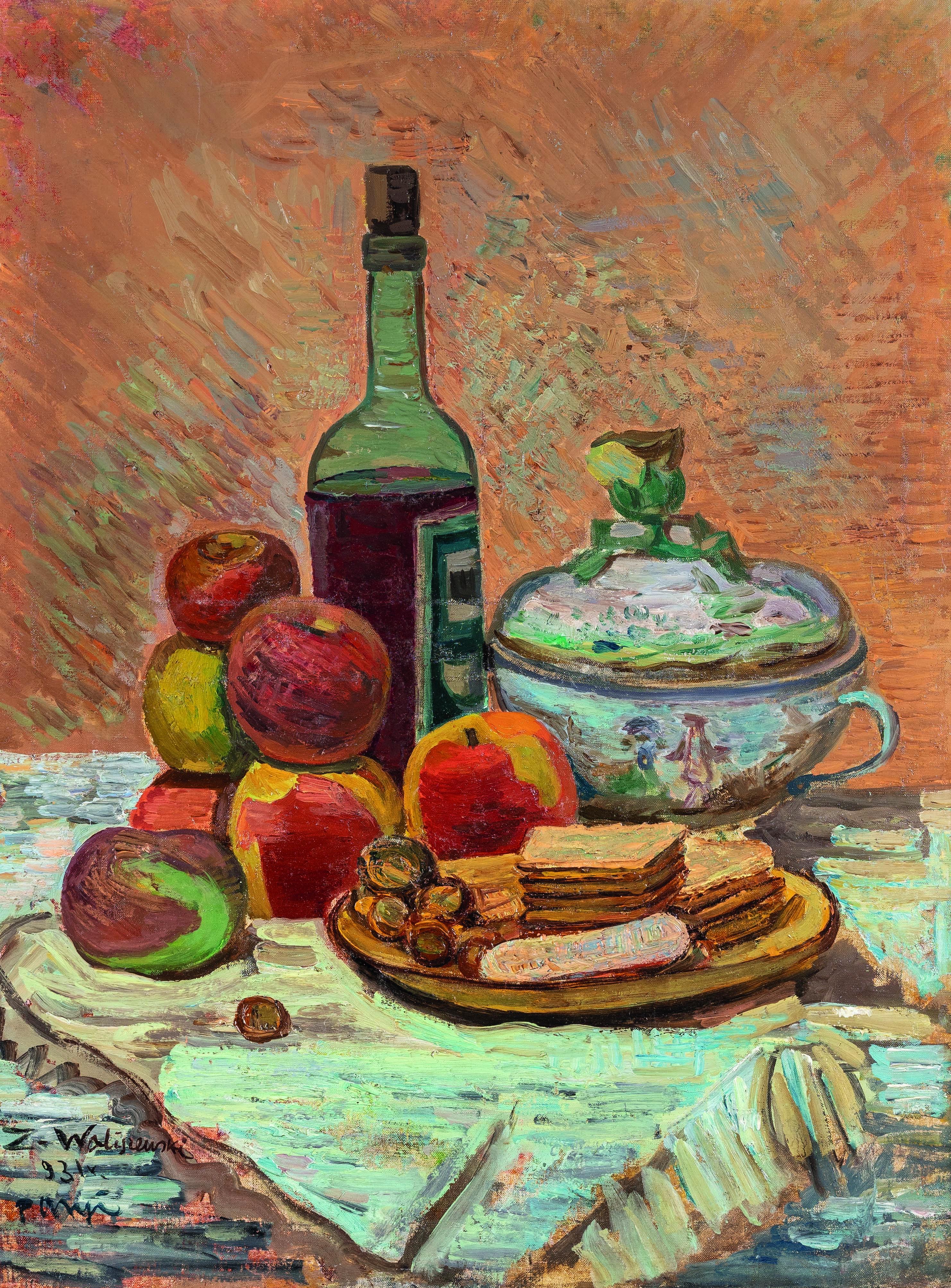 """Zygmunt Waliszewski (1897-1936) """"Martwa natura z jabłkami i butelką wina"""", źródło: Leclere Maison de Ventes"""