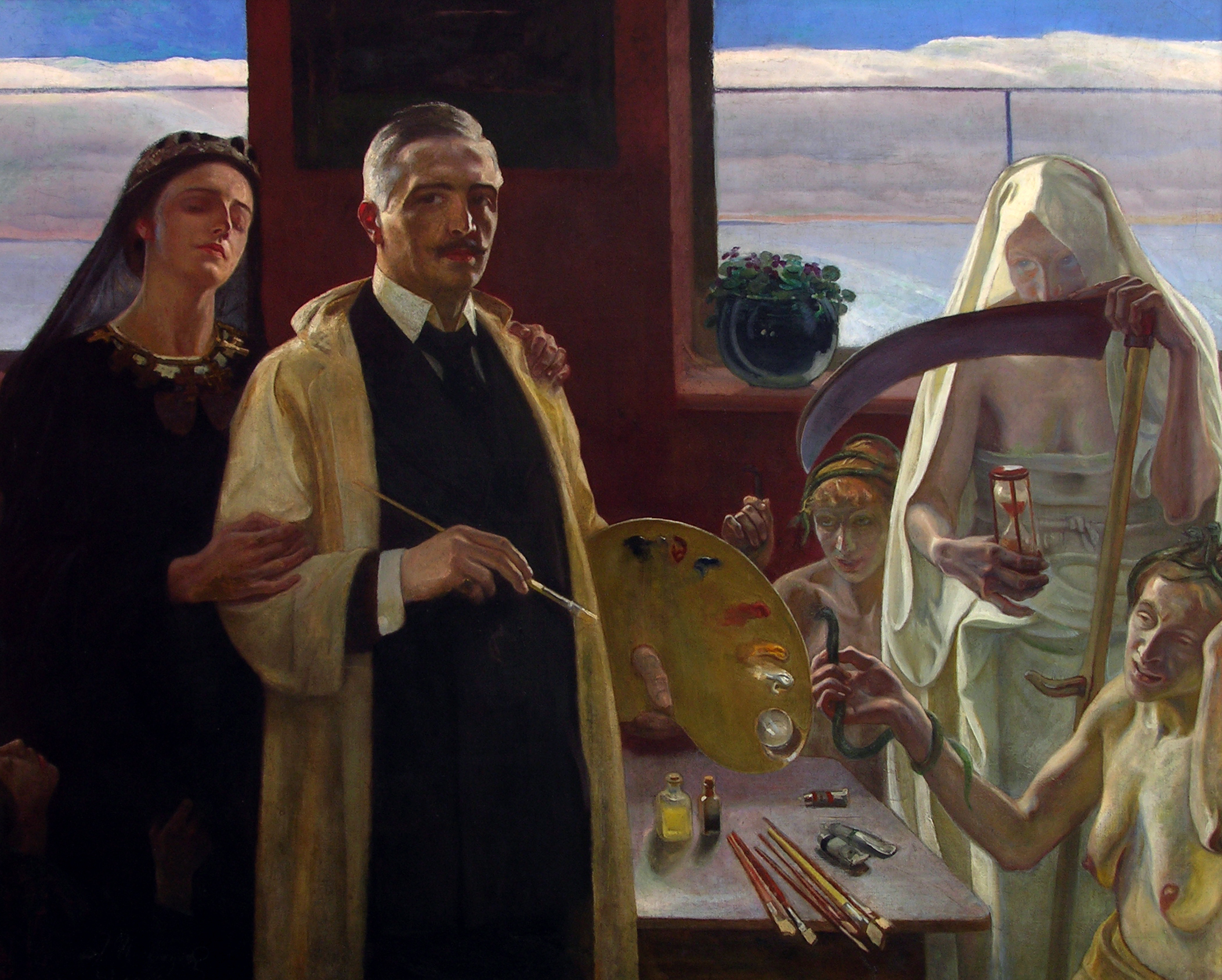 """Józef Unierzyski """"Autoportret z harpiami"""", źródło: Muzeum Mazowieckie w Płocku"""
