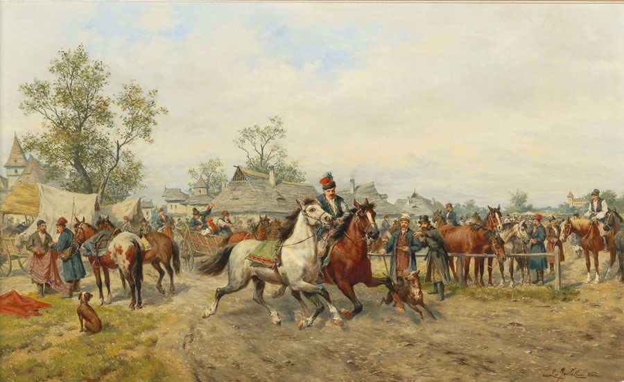 "Ludwik Gędłek (1847-1904) ""Targ koński"", źródło: Dorotheum"