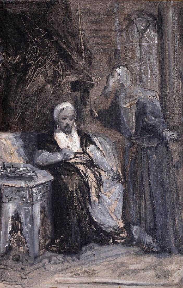 """Maurycy Gottlieb (1856-1879) """"Scena biblijna (z cyklu Natan i mędrzec)"""", źródło: Tiroche Auction House"""
