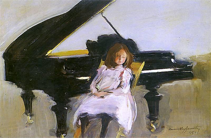 """Konrad Krzyżanowski """"Dziewczynka przy fortepianie"""", źródło: własność prywatna (wikipedia.org)"""