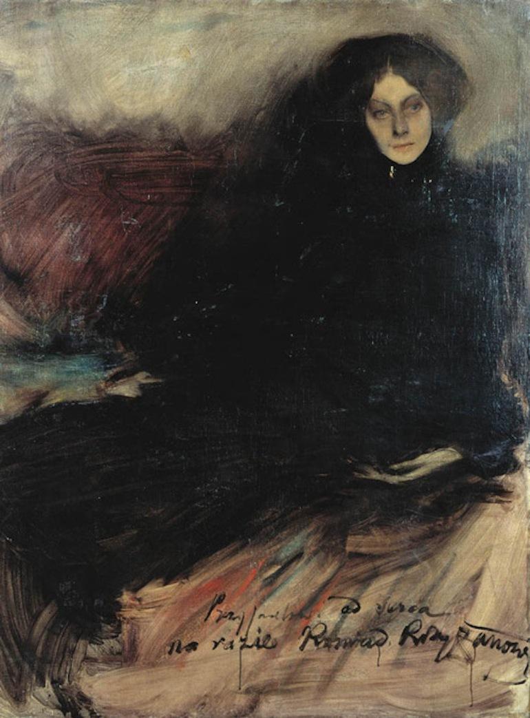 """Konrad Krzyżanowski """"Portret rosyjskiej aktorki"""", 1897 rok, źródło: Muzeum Okręgowe w Toruniu"""