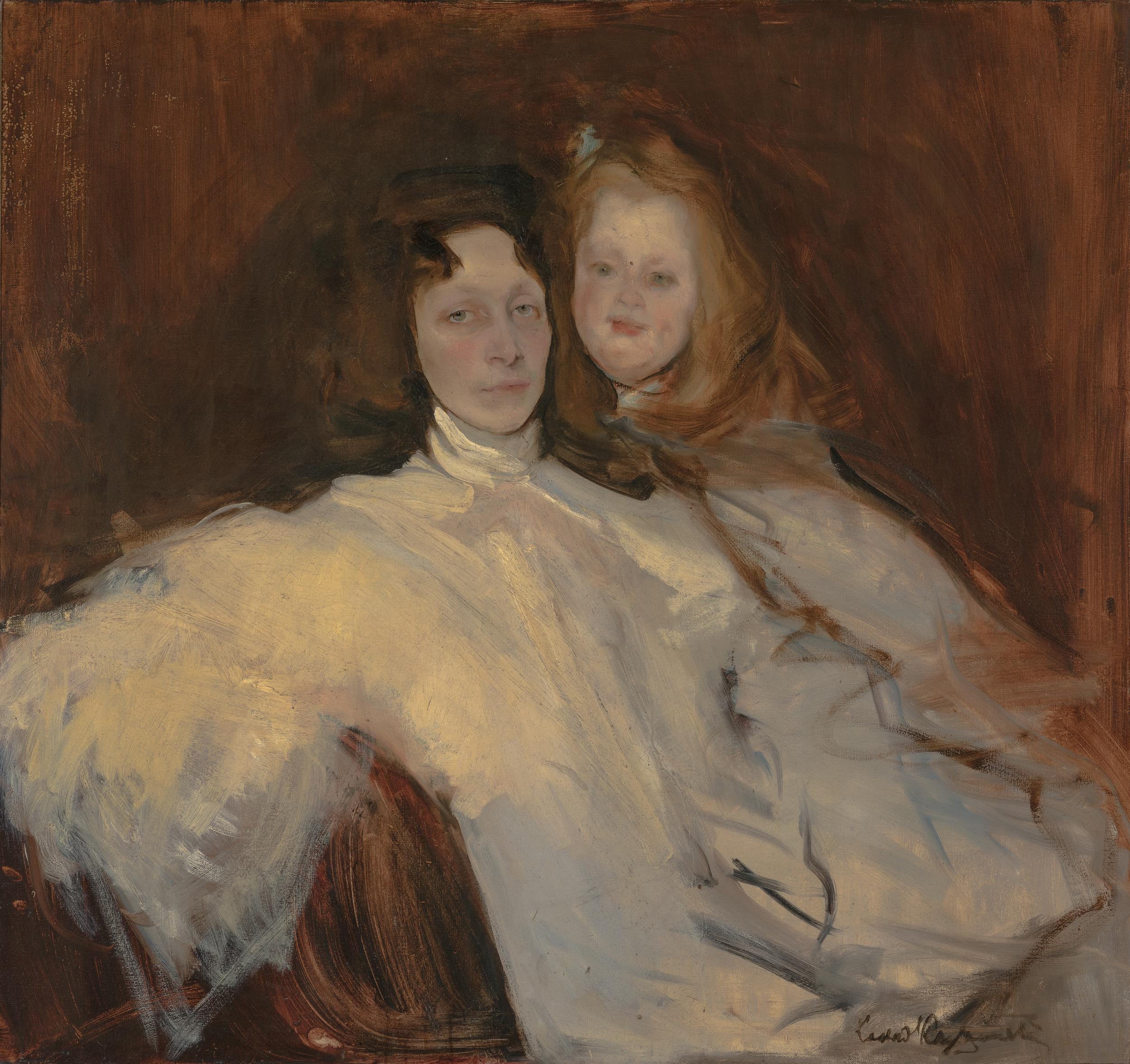 """Konrad Krzyżanowski """"Portret Teresy Słońskiej z córką"""", źródło: Muzeum Śląskie w Katowicach"""