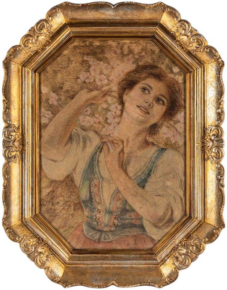 """Piotr Stachiewicz (1858-1938) """"Krakowianka wśród kwiatów jabłoni"""", źródło: Shapiro Auctions"""