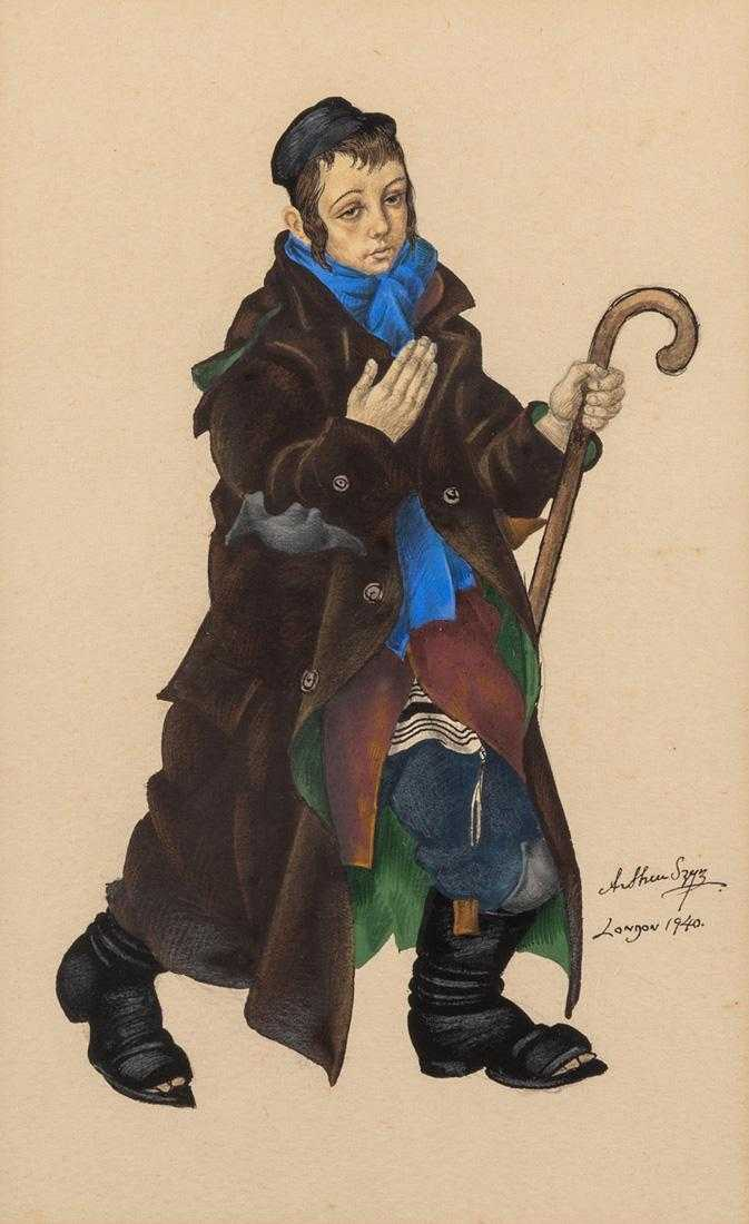 """Artur Szyk (1894-1951) """"Żebrający chłopiec"""", źródło: Shapiro Auctions"""