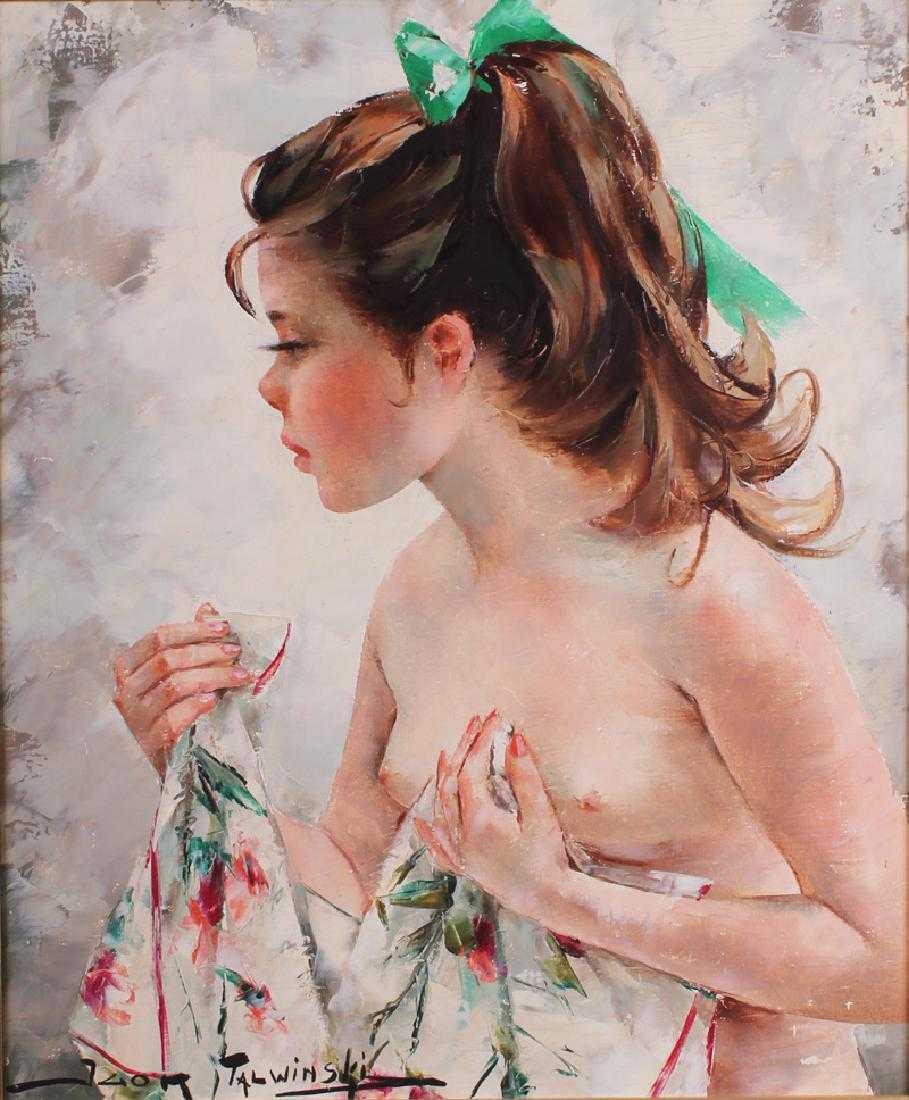 """Igor Talwiński (1907-1983) """"Półakt z zieloną kokardą"""" olej na płótnie, źródło: Clark's Fine Art & Auctioneers Inc"""