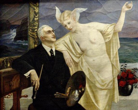 """Józef Unierzyski """"Autoportret z Veną"""", źródło: Polonia Art"""
