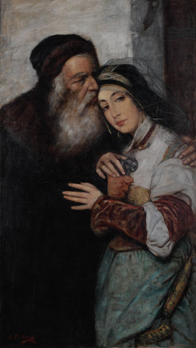 """Marcin Gottlieb """"Shylock i Jessica"""", 1887, źródło: Muzeum Historyczne Miasta Krakowa"""