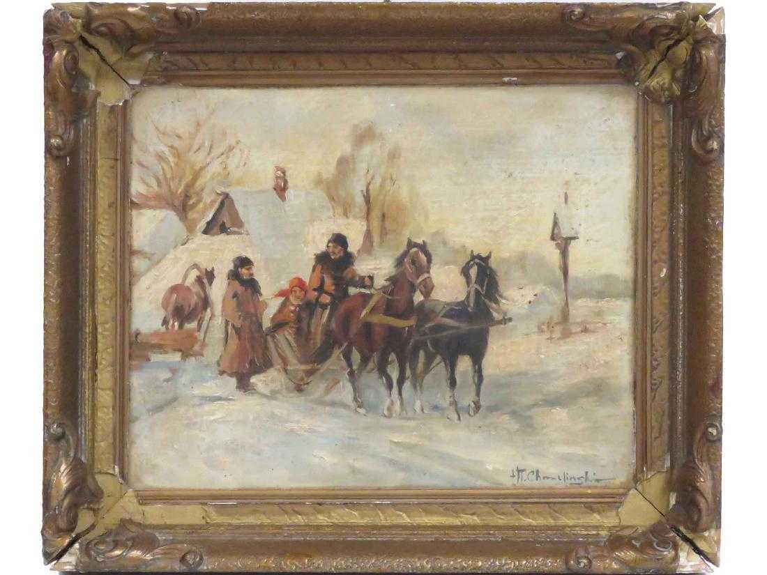 """Władysław Chmieliński (1911-1979) """"Przejażdżka saniami"""", źródło: William J. Jenack Auctioneers"""