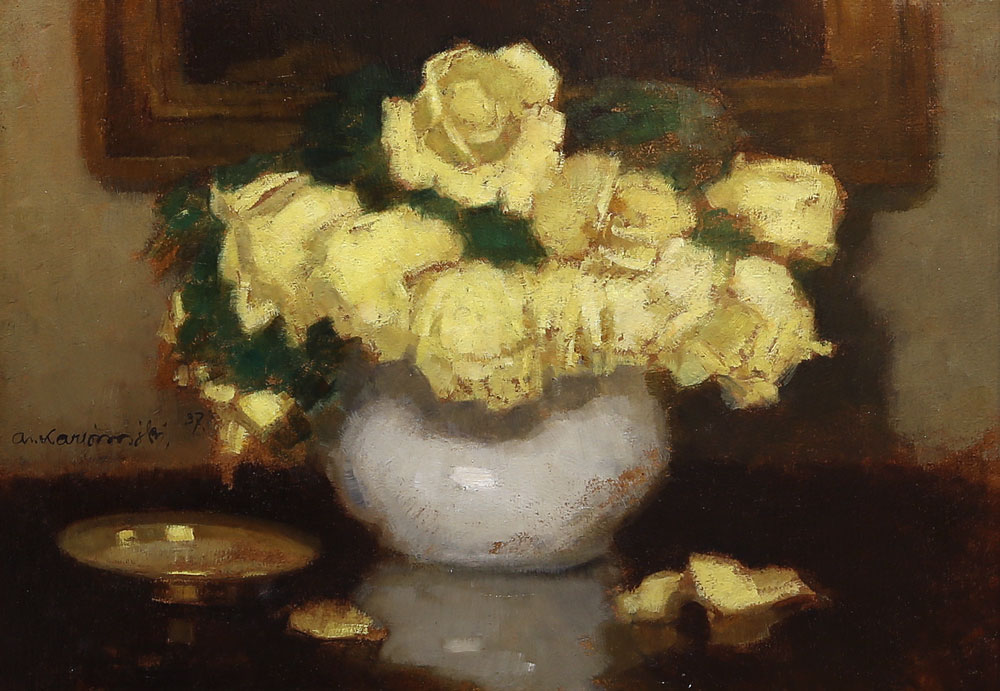 "Alfons Karpiński ""Żółte róże"", źródło: Salon Dzieł Sztuki Connaisseur"