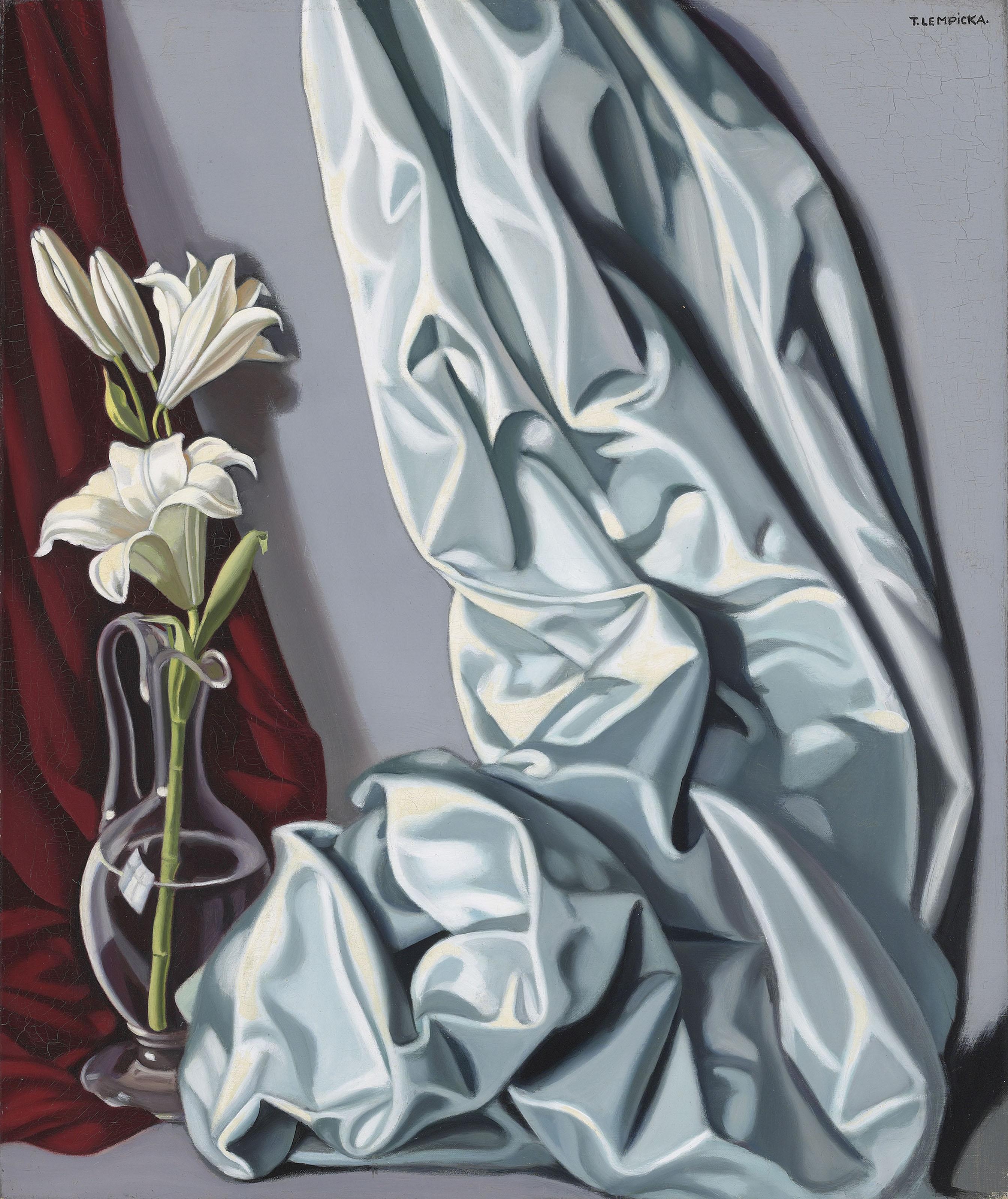 """Tamara Łempicka (1898-1980) """"Martwa natura z draperią i lilią w wazonie"""", źródło: Christie's"""