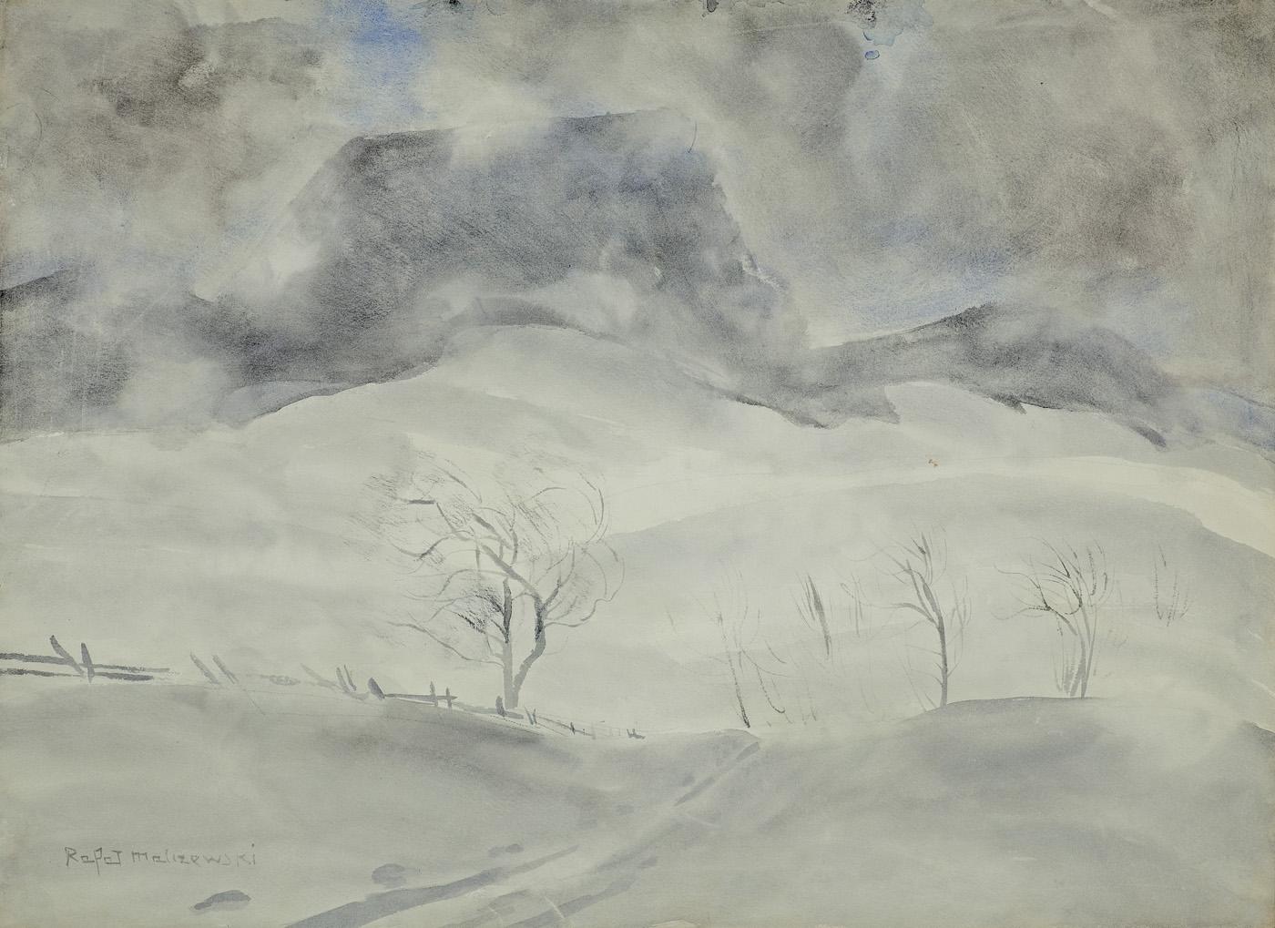"""Rafał Malczewski """"Pejzaż zimowy"""", ok. 1950 roku, źródło: Agra-Art"""