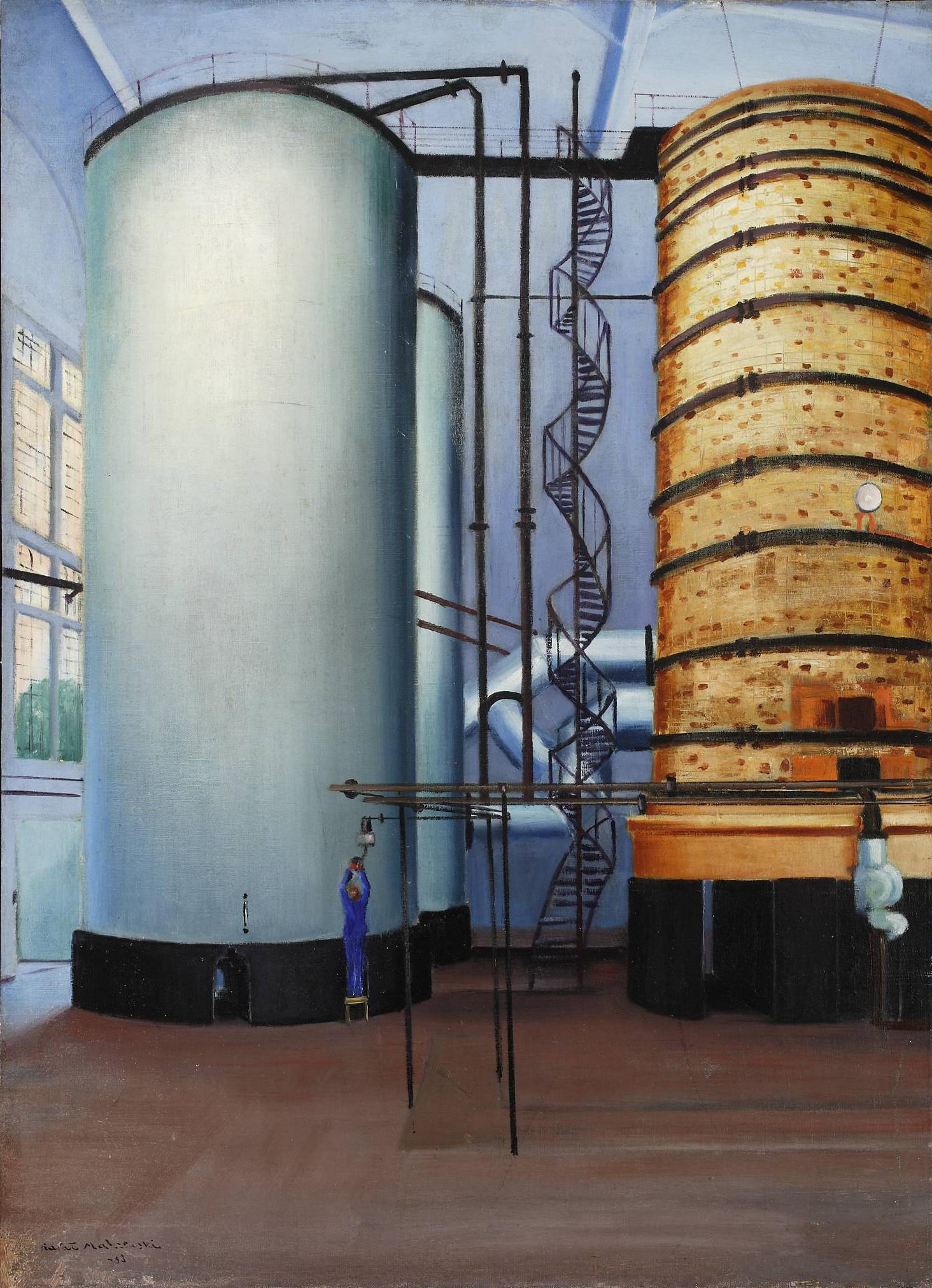 """Rafał Malczewski """"Wieże Mościckiego - wnętrze hali fabrycznej"""", 1938, źródło: Muzeum Narodowe w Warszawie"""