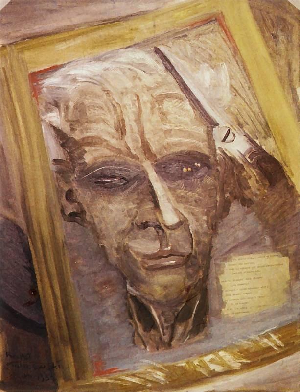 """Rafał Malczewski """"Autoportret ślepnącego malarza"""", 1955 roku, źródło: pinakoteka.zascianek.pl (kolekcja prywatna)"""