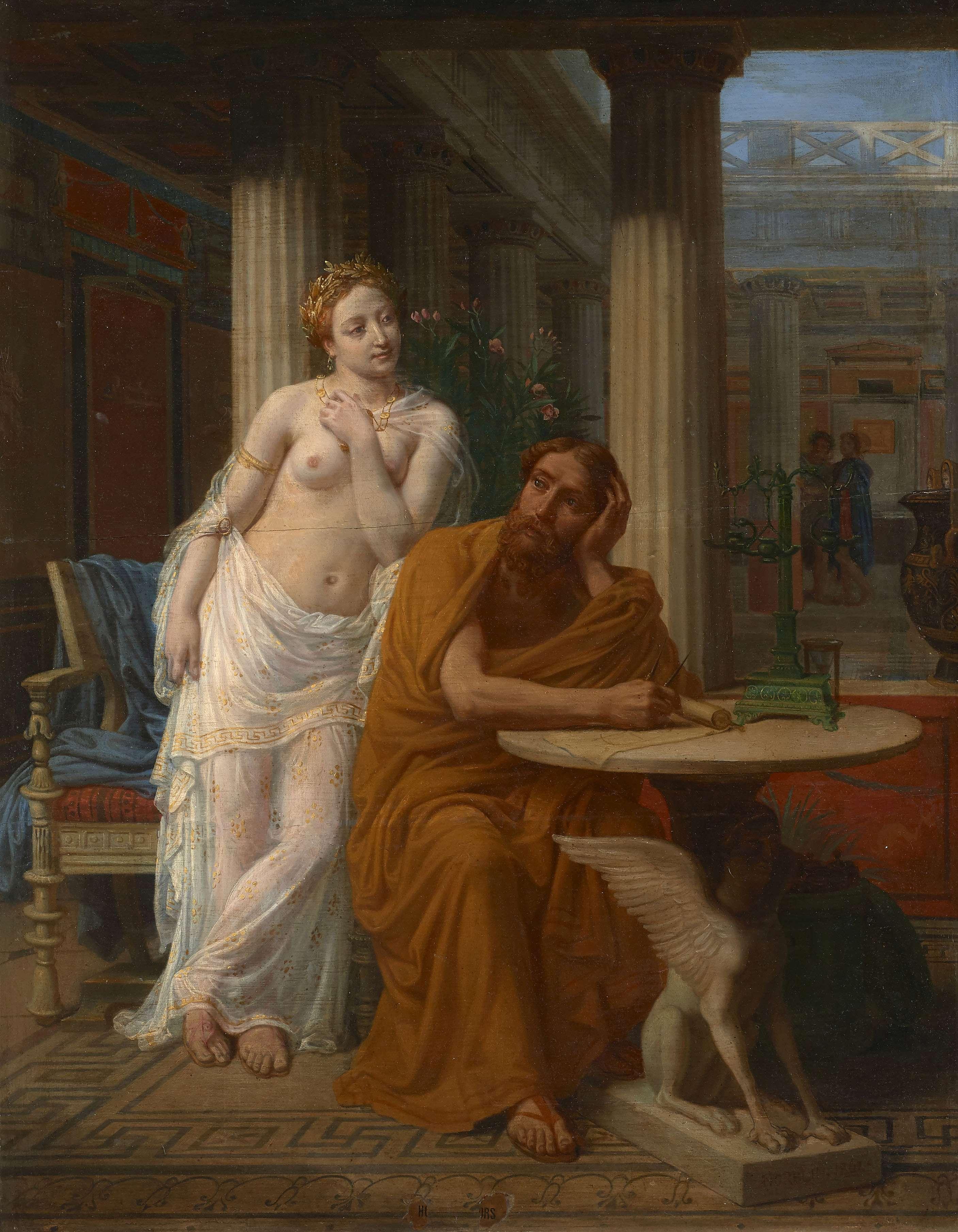 """Sebastian Norblin de La Gourdaine (1796-1884) """"Ksenokrates opierający się pokusom Phryne"""", źródło: Artcurial"""