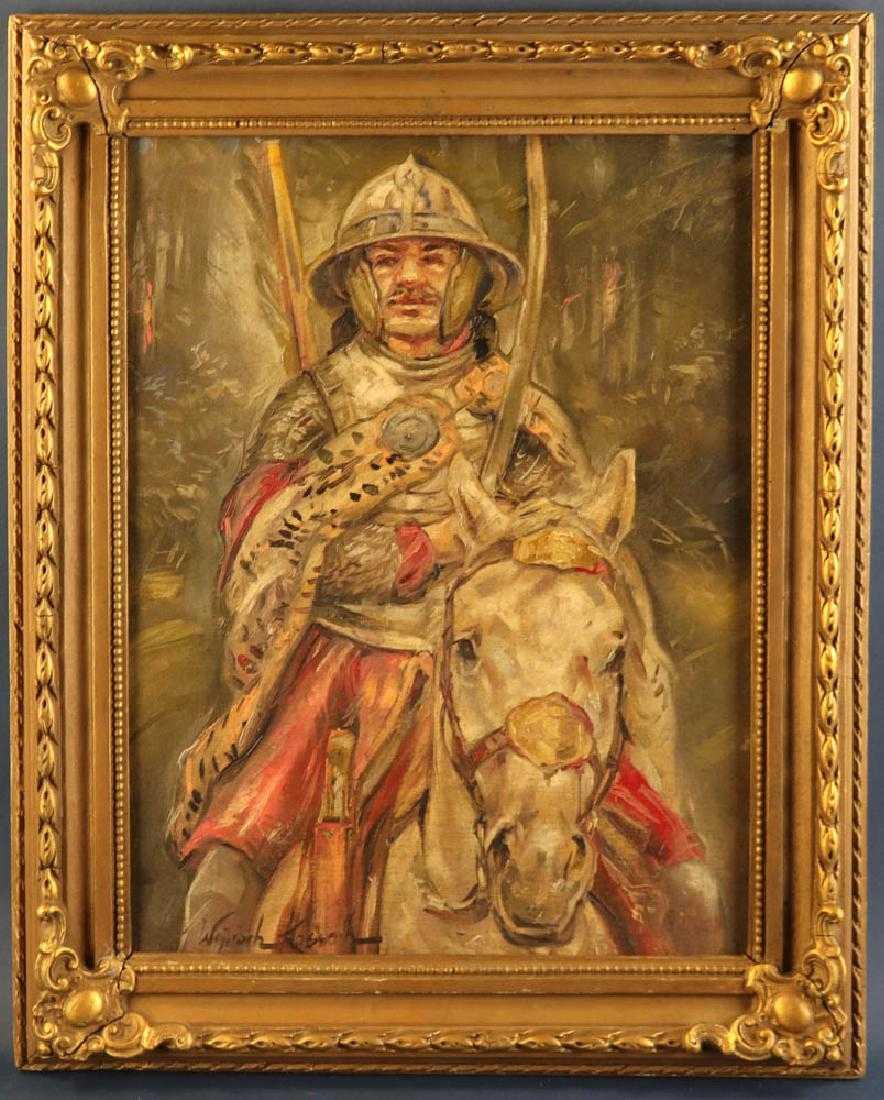"""Wojciech Kossak (1857-1942) """"Husarz na koniu"""", źródło: Kaminski Auctions"""