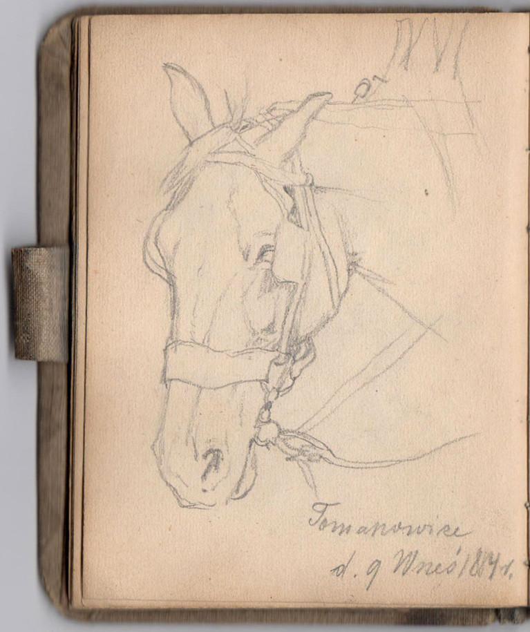Karta ze szkicownika Józefa Brandta, 1884 rok, źródło: Salon Dzieł Sztuki Connaisseur
