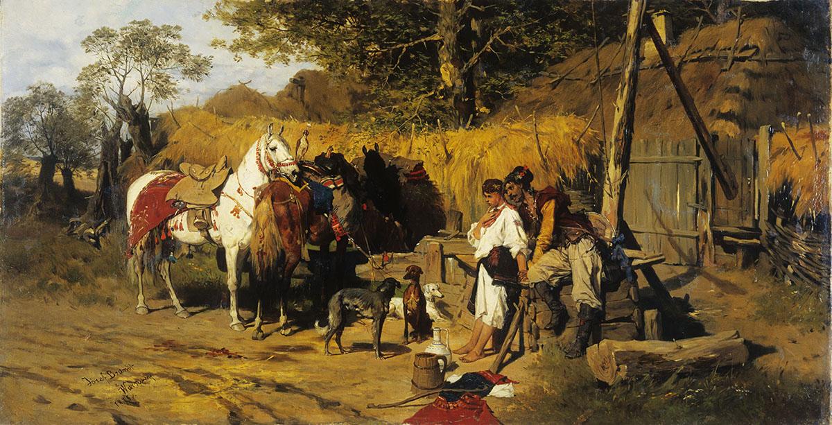 """Józef Brandt """"Kozak i dziewczyna przy studni"""", 1875 rok, źródło: Muzeum Narodowe w Kielcach"""