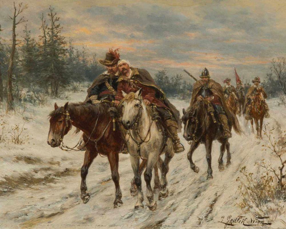 """Ludwik Gędłek (1847-1904) """"Zimowy odwrót"""", źródło: Schuler Auktionen"""