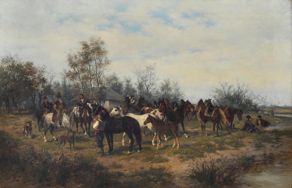 """Ludwik Gędłek (1847-1904) """"Prezentacja nowego konia"""", źródło: Kunstauktionshaus Günther"""