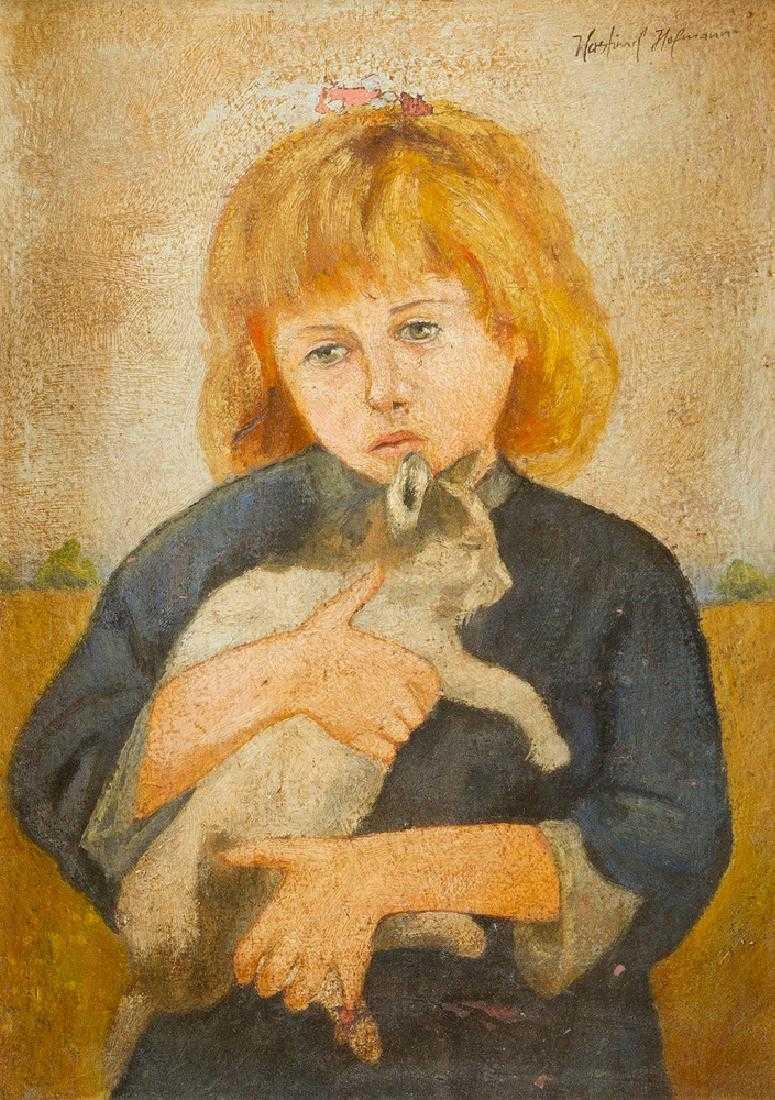 """Wlastimil Hofman (1881-1970) """"Dziewczynka z kotem"""", źródło: Deutsch Auctioneers"""