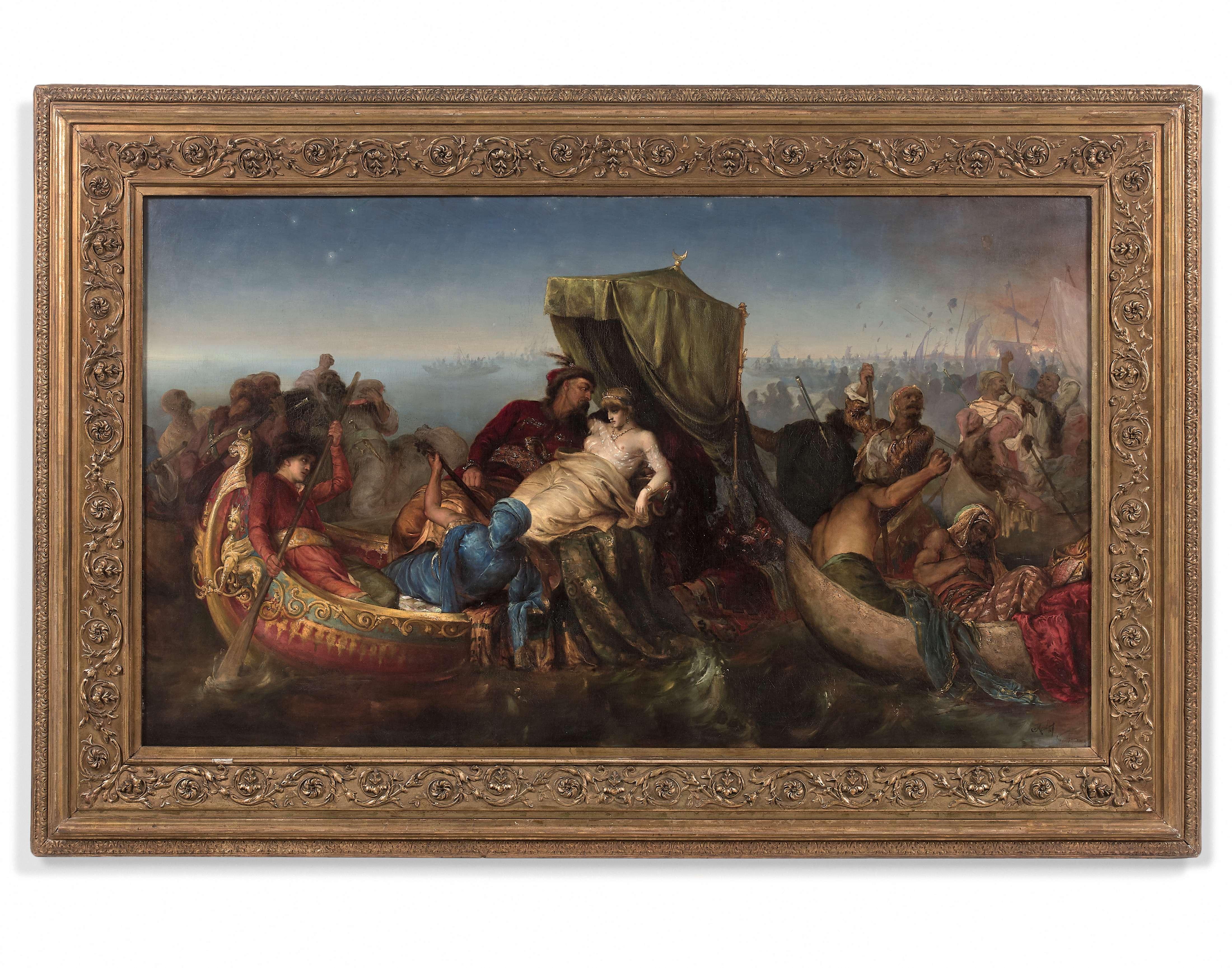 """Józef Męcina Krzesz (1860-1934) """"Porwanie osmańskiej piękności"""", źródło: Artcurial"""