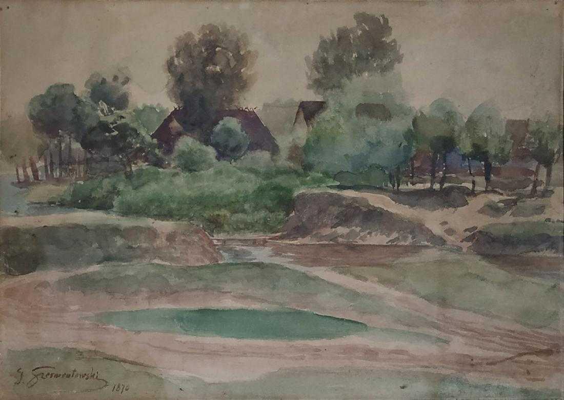 """Józef Szermentowski (1833-1876) """"Wiejski pejzaż"""", źródło: Matsart Auctioneers"""