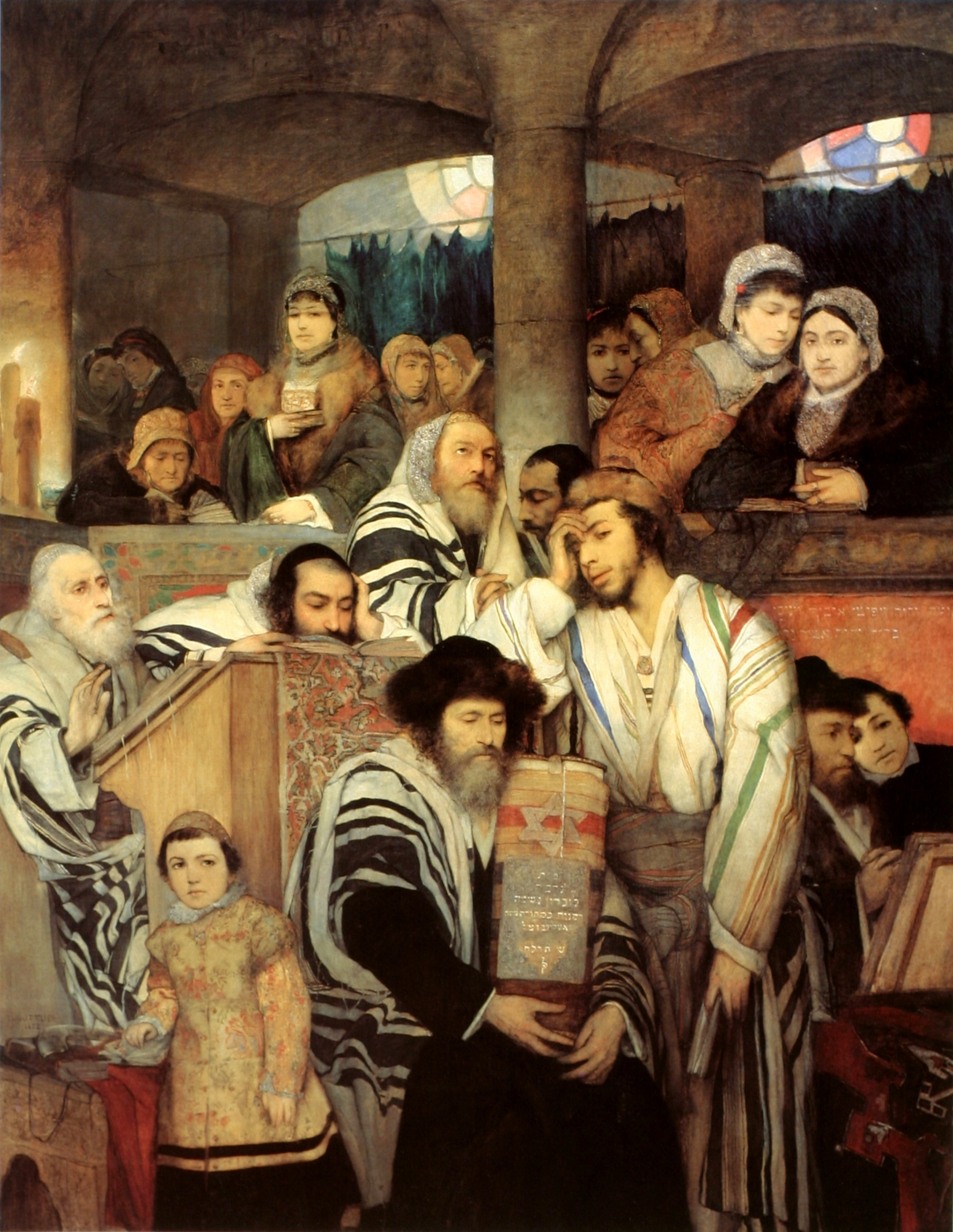 """Maurycy Gottlieb """"Żydzi modlący się w Jom Kippur"""", 1878 rok, źródło: Muzeum Sztuki w Tel-Awiwie"""