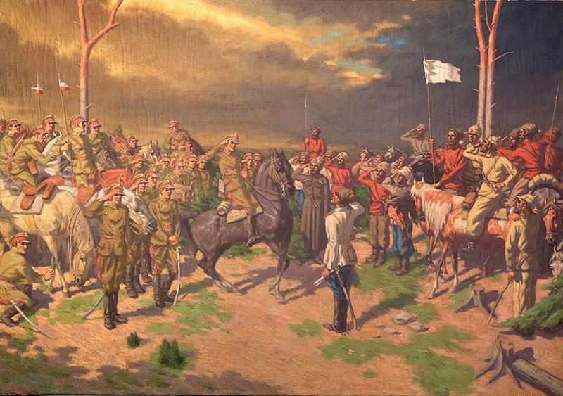 """Stanisław Bińkowski """"Poddanie bolszewików przed ułanami"""", źródło: Sopocki Dom Aukcyjny"""