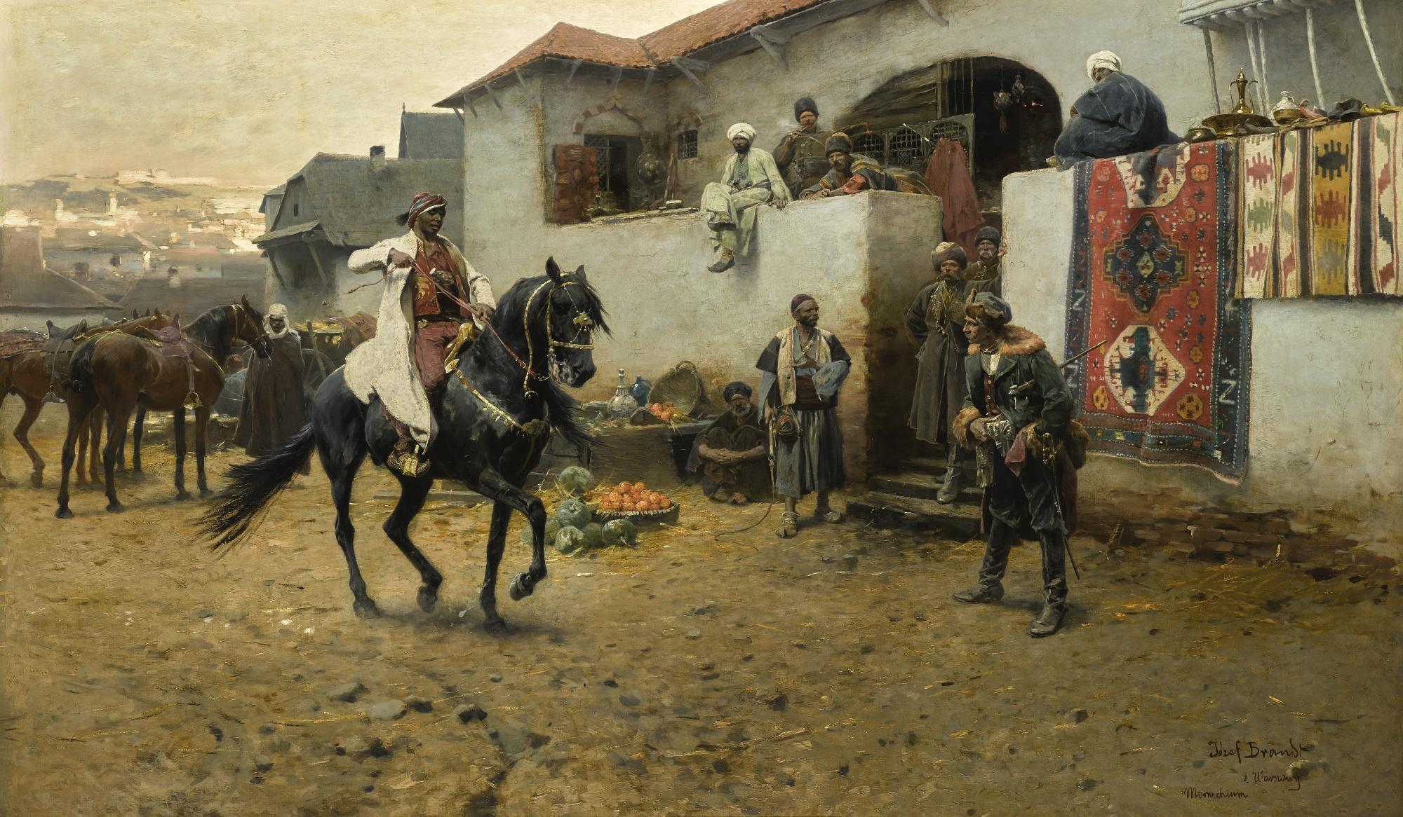 """Józef Brandt (1841-1915) """"Na wschodnim targu / Nabytek pełnej krwi / Arabczyk"""", źródło: Sotheby's"""