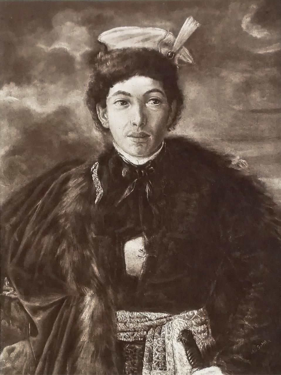 """Maurycy Gottlieb """"Autoportret w stroju szlachcica polskiego"""", 1874 rok, (rotograwiura), źródło: Warszawski Dom Aukcyjny"""
