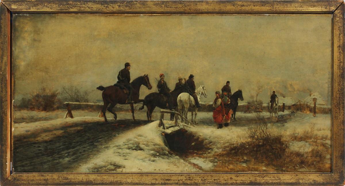 "Antoni Piotrowski (1853-1924) ""Rosyjski punkt kontrolny"", źródło: DuMouchelles"