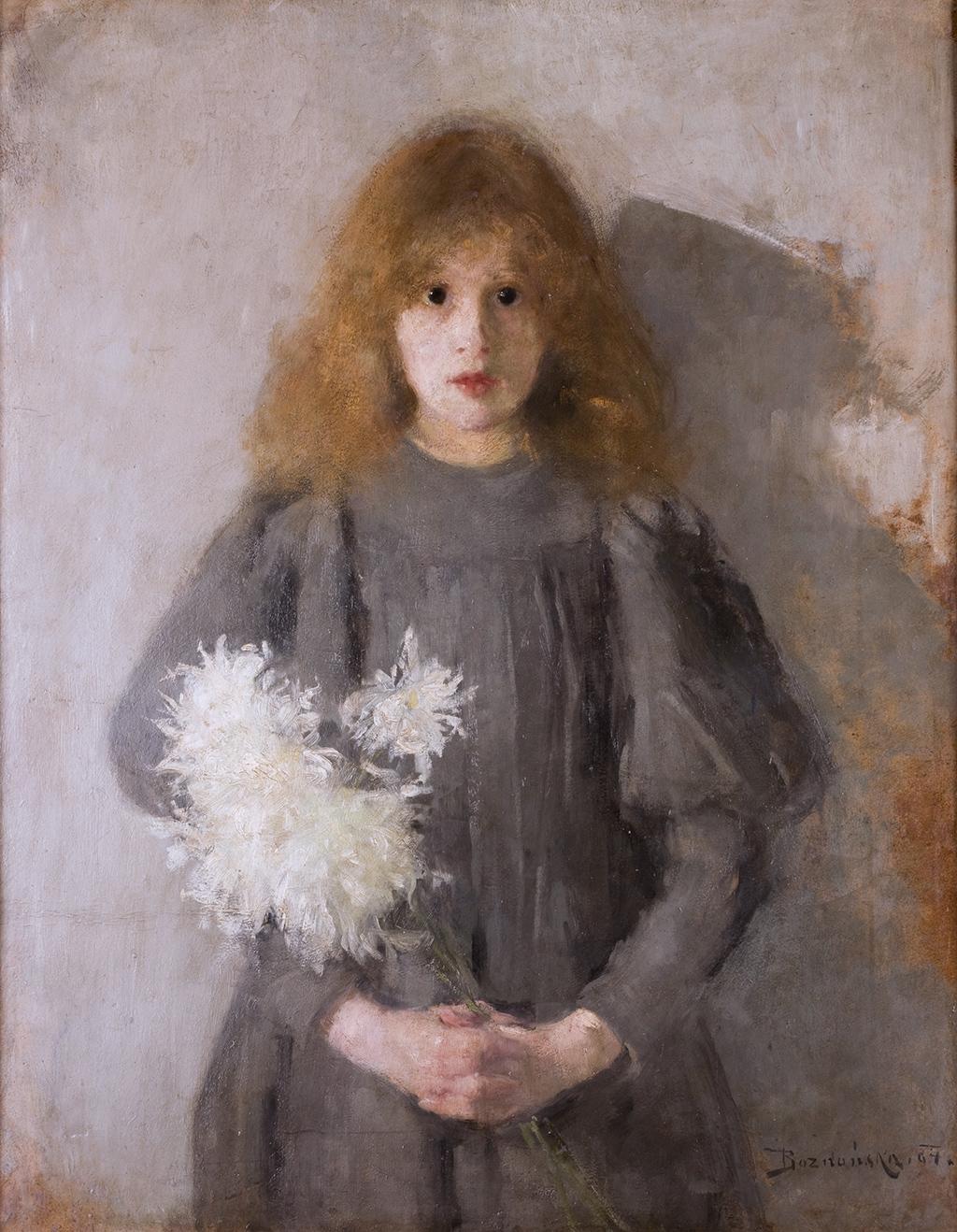 """Olga Boznańska """"Dziewczynka z chryzantemami"""", 1894 rok, źródło: Muzeum Narodowe w Krakowie"""