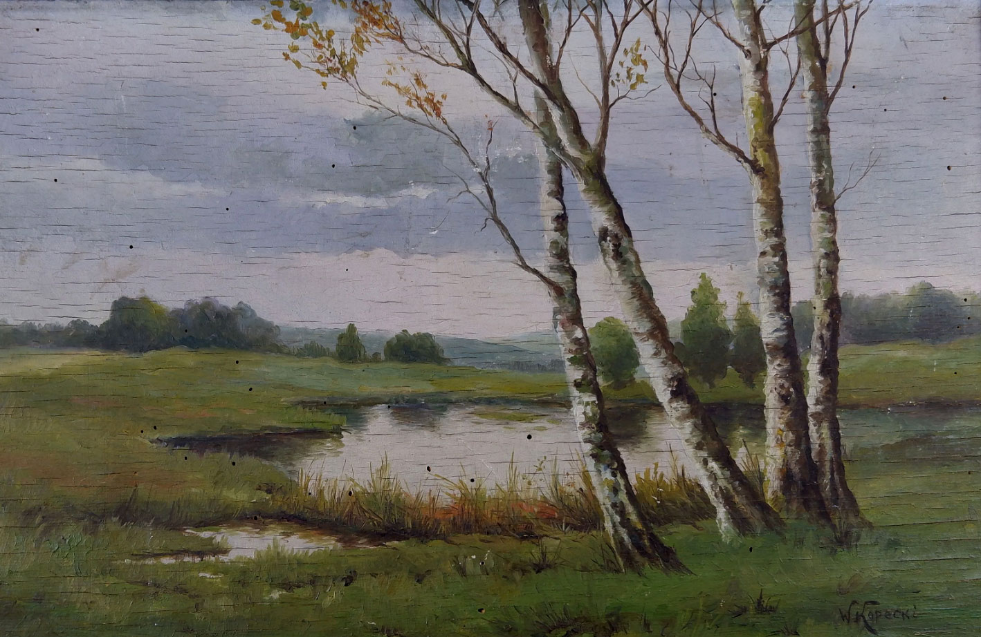 """Wiktor Korecki (1890-1980) """"Pejzaż z jeziorkiem"""", źródło: SGL Encheres"""